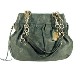 ALEXIS HUDSON Expandable Green Leather Satchel